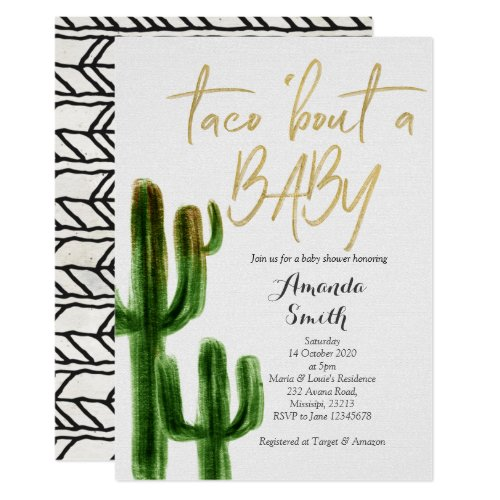 Taco bout baby Cactus Couples Shower Invite card