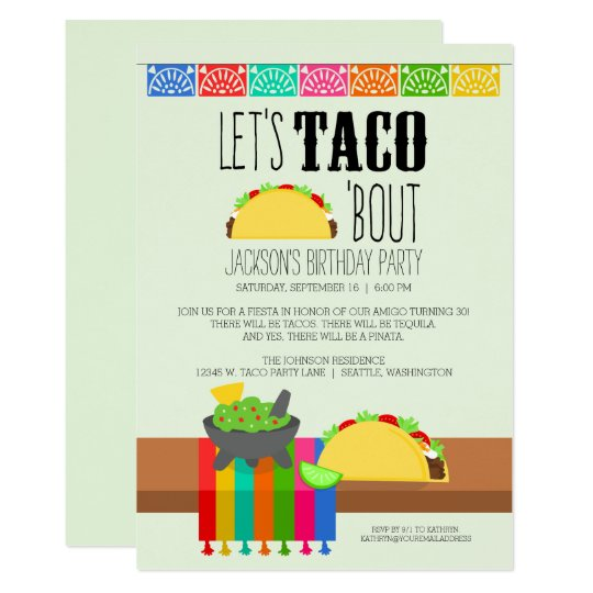 taco bout birthday party invitation zazzle com