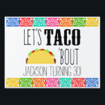 "Taco &#39;Bout Birthday Party Lawn Sign<br><div class=""desc"">Are you planning a taco theme birthday party? The Taco &#39;Bout Birthday Party Yard Sign will add a splash of fun to your brightly colored Mexican fiesta. This yard sign features a yummy taco with all the fixins&#39;. Coordinating taco party products designed by Enchantfancy Design Company are also available to...</div>"