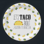 "Taco &#39;Bout Birthday Party Paper Plate<br><div class=""desc"">Are you planning a taco theme birthday party? The Taco &#39;Bout Birthday Party Plates will help add a splash of fun to your brightly colored Mexican fiesta. These paper plates feature a yummy taco with all the fixins&#39;. Your taco night tablescape is going to look amazing. Coordinating taco party products...</div>"