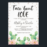 "Taco &#39;&#39;bout Love Couples Shower Invitation<br><div class=""desc"">Looking for a couples taco &#39;bout love shower invitation? This design features a large brush calligraphy heading that can&#39;t be altered and some rose gold dots around the edges of the invitation. The invitation features some flowering cacti in the lower half of the design . The background is a white...</div>"