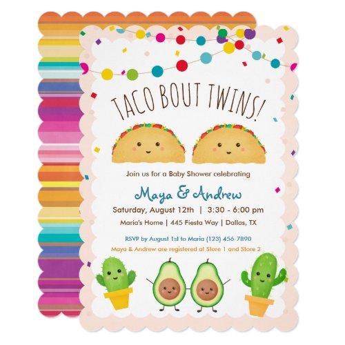 Taco bout Twins!  Fiesta theme Twin Baby Shower Invitation