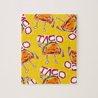taco cartoon style funny illustration jigsaw puzzle