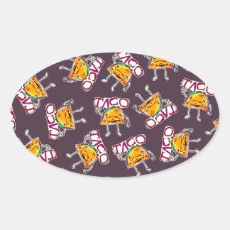 taco cartoon style funny illustration pattern oval sticker