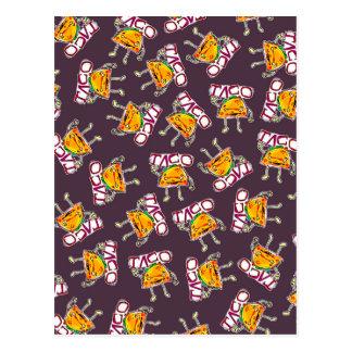 taco cartoon style funny illustration pattern postcard