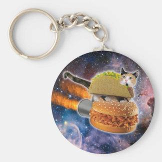 taco catand rockethamburger in the universe keychain