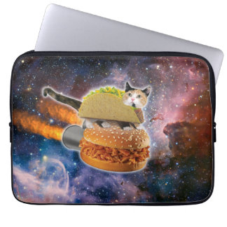taco cat and rocket hamburger in the universe laptop sleeve