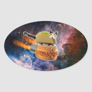 taco catand rockethamburger in the universe oval sticker