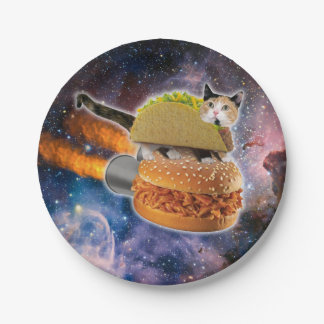 taco catand rockethamburger in the universe paper plate