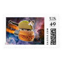 taco cat and rocket hamburger in the universe postage