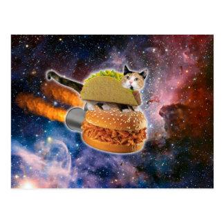 taco catand rockethamburger in the universe postcard