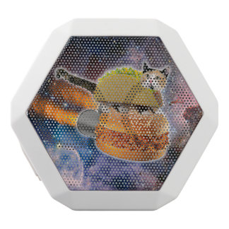 taco catand rockethamburger in the universe white bluetooth speaker