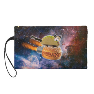 taco cat and rocket hamburger in the universe wristlet purse