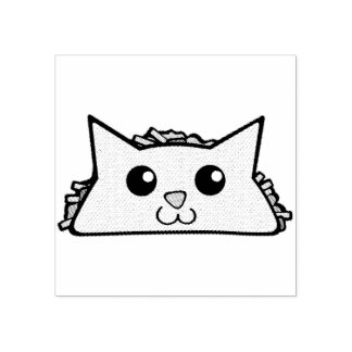 Taco Cat Character Rubber Stamp