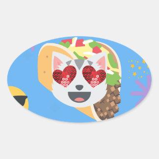 taco cat emoji oval sticker