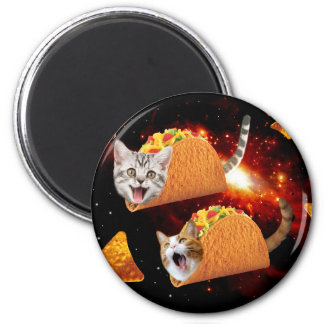 Taco Cats Space 2 Inch Round Magnet