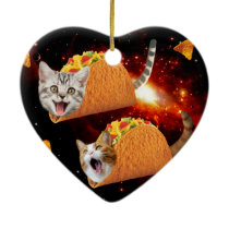 Taco Cats Space Ceramic Ornament