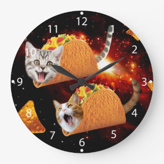 Taco Cats Space Large Clock