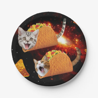 Taco Cats Space Paper Plate at Zazzle