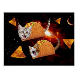 Taco Cats Space Poster
