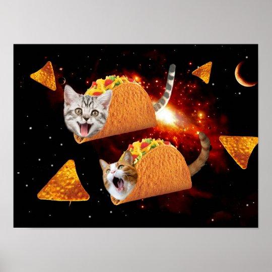 Taco Cats Space Poster Zazzle Com