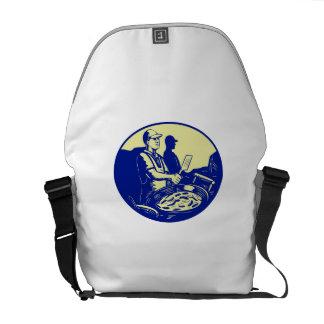 Taco Chef Cook Man Side Oval Retro Messenger Bag