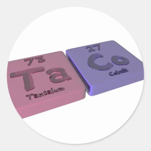 Taco como el tantalio de TA y cobalto del Co Pegatinas Redondas