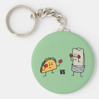 Taco contra el Burrito Llaveros Personalizados