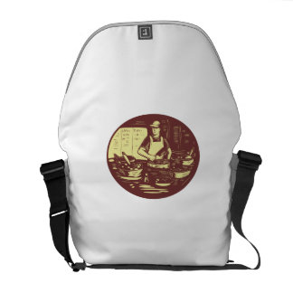 Taco Cook in Food Stall Oval Retro Courier Bag