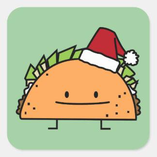 Taco del navidad con el gorra de Santa Pegatina Cuadradas