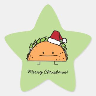 Taco del navidad con el gorra de Santa Pegatina En Forma De Estrella