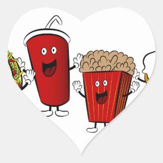 Taco Fast Food Cartoon Characters Heart Sticker