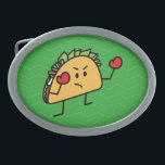"""Taco Fighter Boxer tortilla shell gloves Belt Buckle<br><div class=""""desc"""">Happy Taco fighter ready for a win. Who will be the champion? Crispy taco or soft tortilla burrito? Thank you for looking at Happy Foods Design.</div>"""