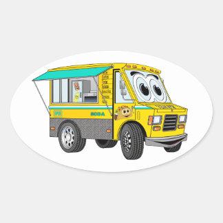 Taco Food Truck Cartoon Oval Sticker