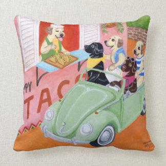 Taco Fun Labradors Painting Throw Pillow