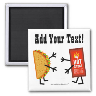 Taco & Hot Sauce - Customizable 2 Inch Square Magnet