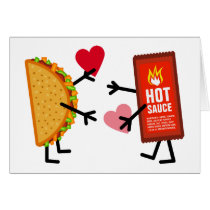 Taco & Hot Sauce - Cute Valentine's Day Hearts Card