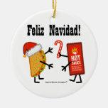 Taco & Hot Sauce - Feliz Navidad! Ceramic Ornament
