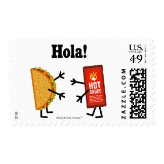 Taco & Hot Sauce - Hola! Postage Stamp