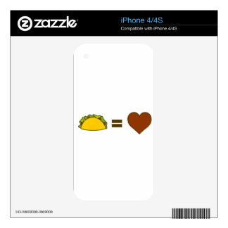 Taco=Love Decal For iPhone 4