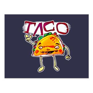 taco man cartoon style funny illustration postcard