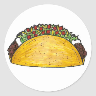 Taco Mexican Food Foodie Hard Shell Corn Tacos Classic Round Sticker