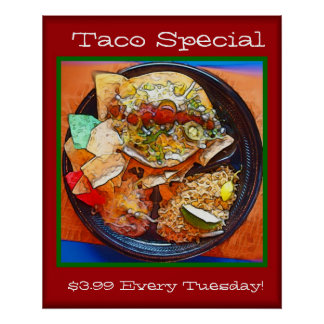 Taco Plate Special (Comic Style) Poster