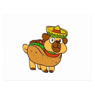 Taco pug postcard