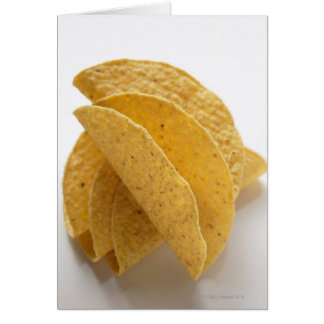 Taco shells on white background card