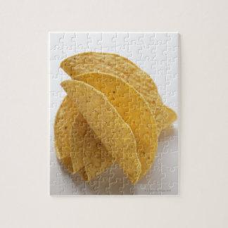 Taco shells on white background jigsaw puzzle
