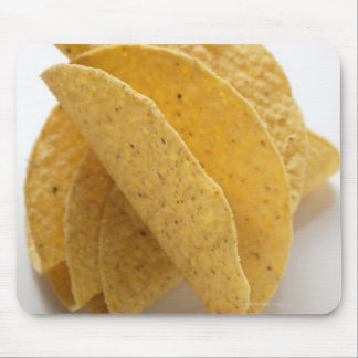 Taco shells on white background mouse pad