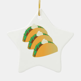 Taco Sour Cream Double-Sided Star Ceramic Christmas Ornament