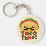 Taco Time Basic Round Button Keychain