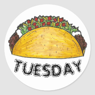 TACO TUESDAY Mexican Tex Mex Food Tacos Foodie Classic Round Sticker
